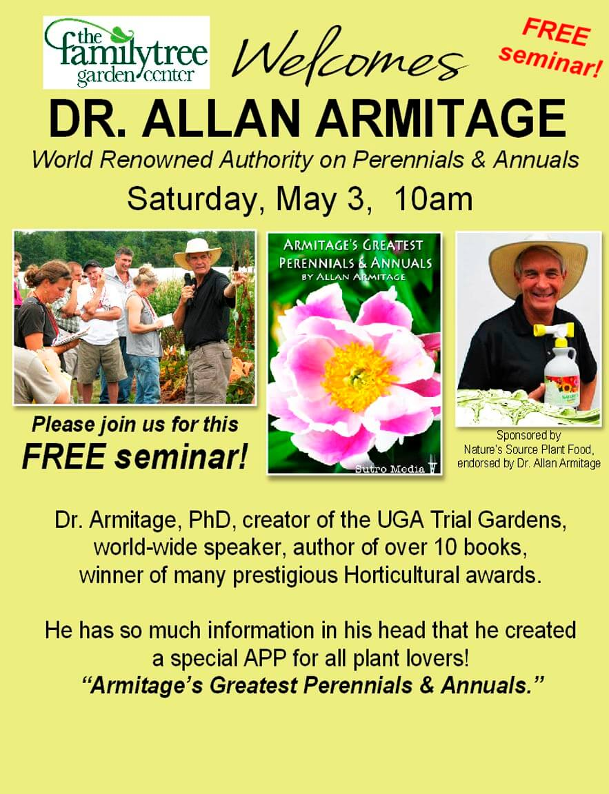 Dr. Allan Armitage, Free Semiar at The Family Tree Garden Center